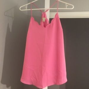 Bright pink Jcrew scallop top